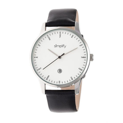 Simplify The 4300 Leather-Band Watch w/Date - Silver/Black SIM4301