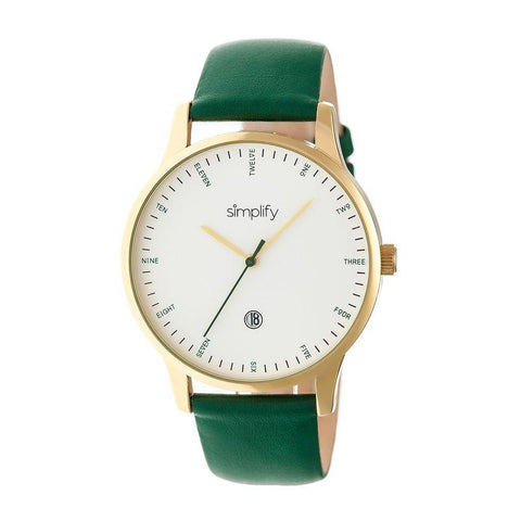 Simplify The 4300 Leather-Band Watch w/Date - Gold/Green SIM4305