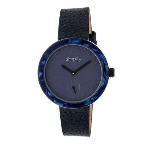 Simplify The 3700 Leather-Band Watch - Black/Navy SIM3704