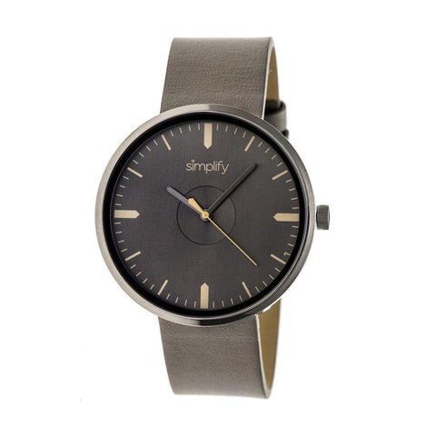 Simplify The 4500 Leather-Band Watch - Pewter SIM4506