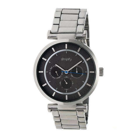 Simplify The 4800 Bracelet Watch w/Day/Date - Silver/Black SIM4802