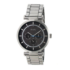 Simplify The 4800 Bracelet Watch w/Day/Date - Silver/Black