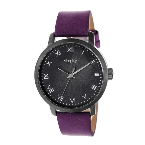 Simplify The 4200 Leather-Band Watch - Purple SIM4207