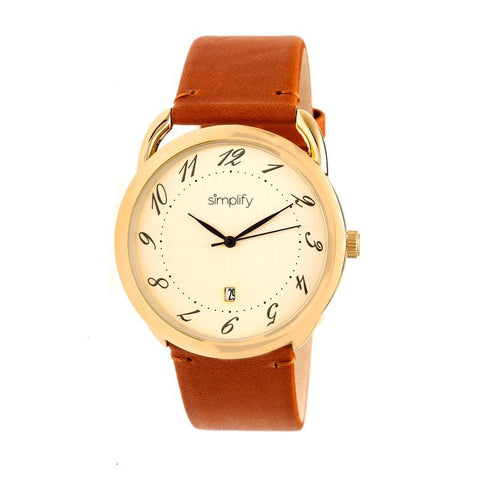 Simplify The 4900 Leather-Band Watch w/Date - Gold/Camel SIM4903