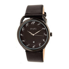 Simplify The 4900 Leather-Band Watch w/Date - Black
