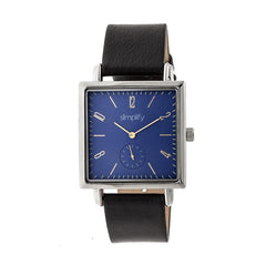 Simplify The 5000 Leather-Band Watch - Black/Blue