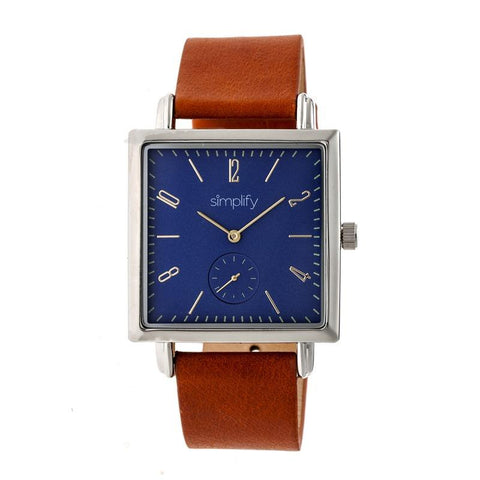 Simplify The 5000 Leather-Band Watch - Brown/Blue SIM5004