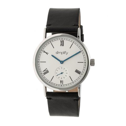 Simplify The 5100 Leather-Band Watch - Black/White SIM5101