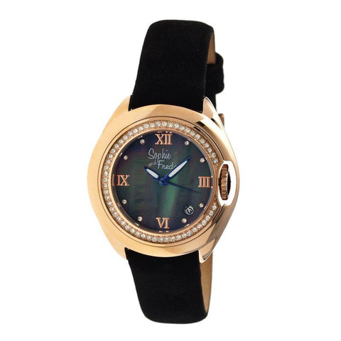 Sophie & Freda Belize MOP Ladies Watch w/ Date - Rose Gold/Black SAFSF1006