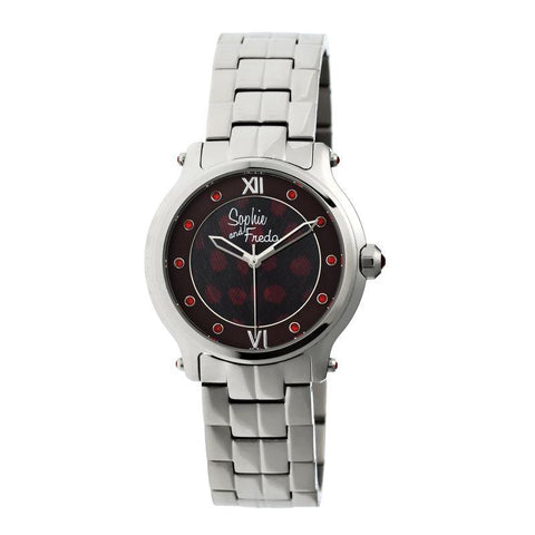 Sophie & Freda Siena Ladies Bracelet Watch - Silver/Red SAFSF2602