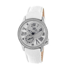 Sophie & Freda Toronto Leather-Band Ladies Watch - Silver/White
