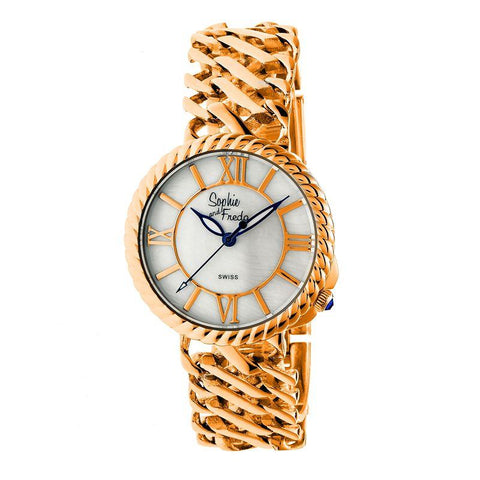 Sophie and Freda Charleston Mother-of-Pearl Swiss Bracelet Watch - Rose Gold/White SAFSF3106