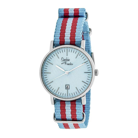Sophie & Freda Nantucket Nylon-Band Ladies Watch - Silver/Powder Blue SAFSF3301