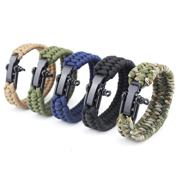 Paracord Bracelet Woven Parachute Braided Rope With Stainless Steel Buckle - Chilling Outdoors