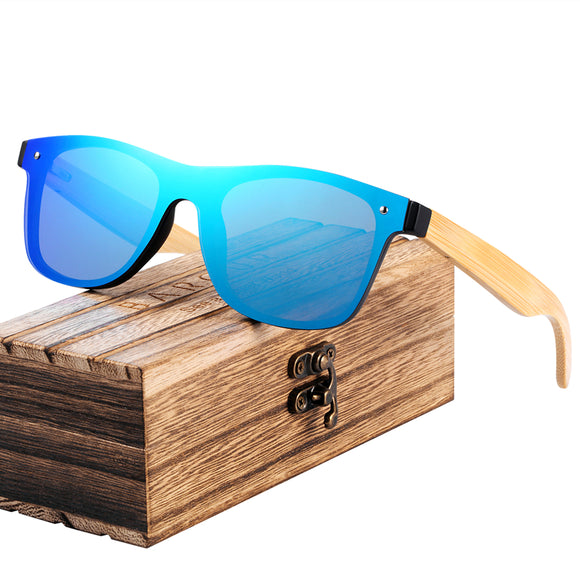 Wooden Bamboo Square Sunglasses - Chilling Outdoors