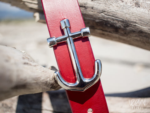 anchor buckle belt red