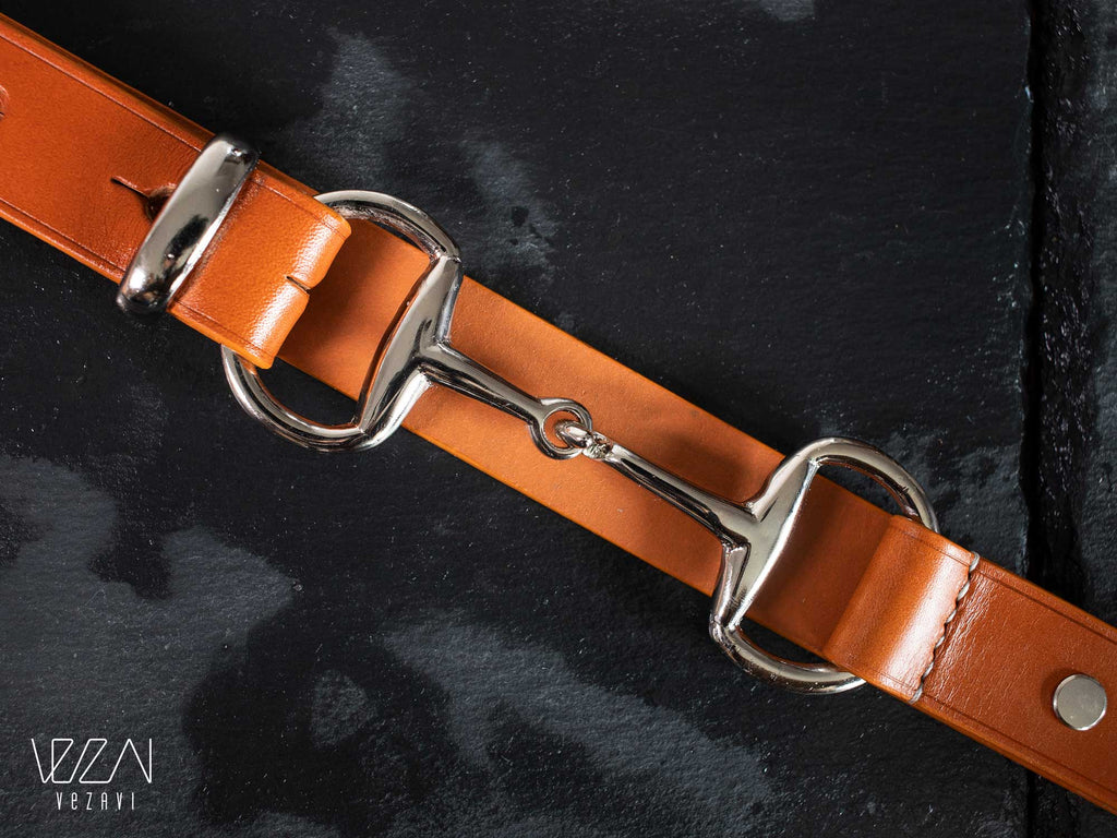 Horse fashion snaffle bit belt | Tan & silver