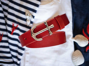 Nautical style anchor buckle belt