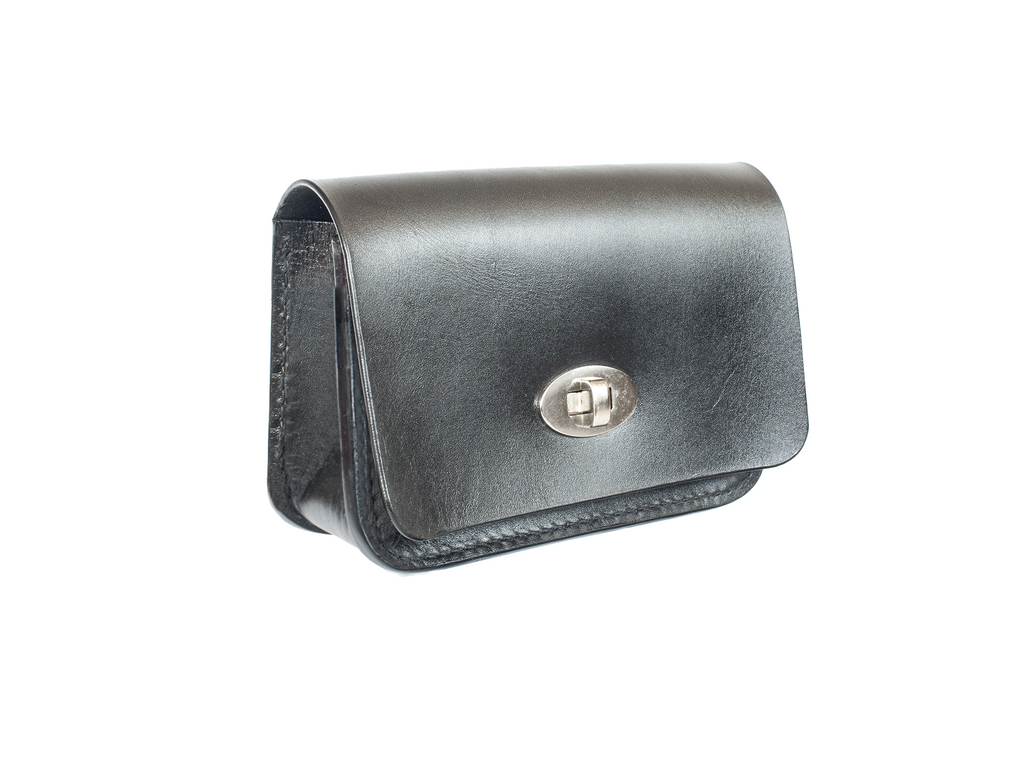 Leather belt bag with turn button