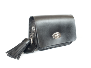Leather belt bag with turn button and key ring