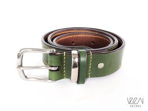 Personalised leather belt | green/ chestnut