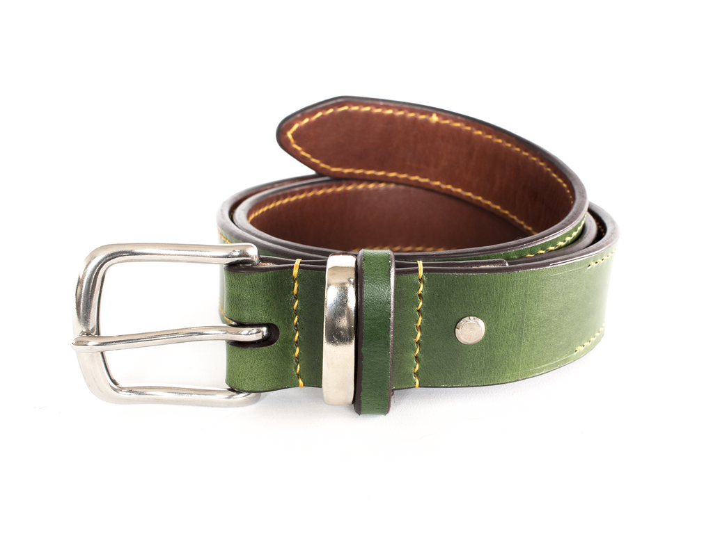 Personalised leather belt green & chestnut