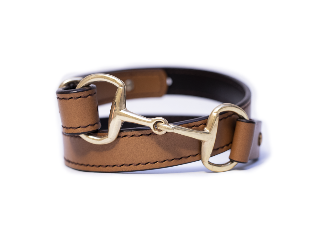 Equestrian belt snaffle bit belt full stitched
