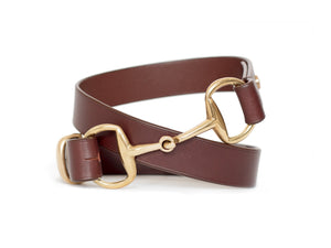 Horse fashion snaffle bit belt | horse chestnut & brass