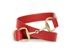 Horse fashion snaffle bit belt | red & brass
