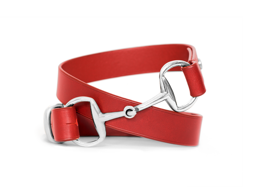 Horse fashion snaffle bit belt | red & silver