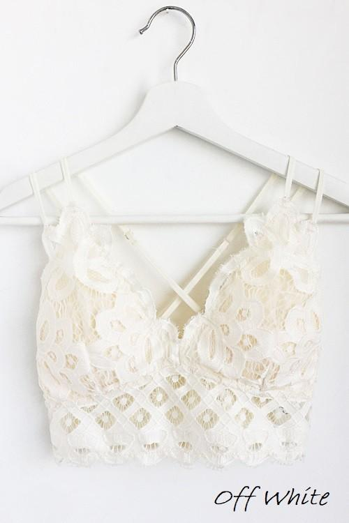 Padded Lace Bralettes- Off White - Bleu Chic Boutique