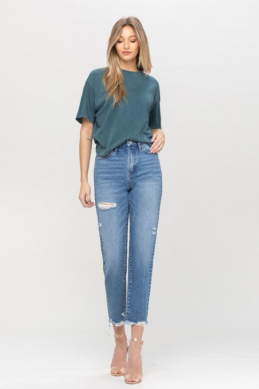 Vervet Rendition Distressed Mom Jeans - Bleu Chic Boutique