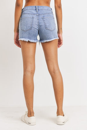 JH205 Super Destroyed Denim Shorts- Light Denim - Bleu Chic Boutique