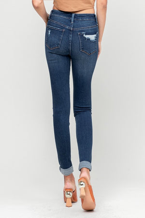 Flying Monkey Rolled Hem Mid Rise Denim - Bleu Chic Boutique