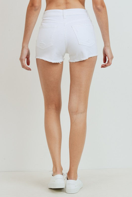 Don't Push My Buttons Denim Shorts- White - Bleu Chic Boutique