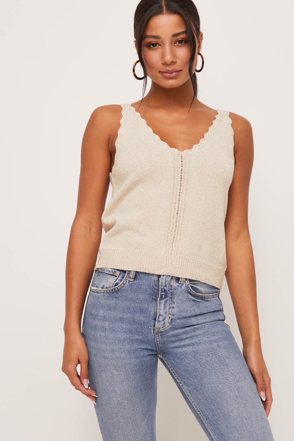 LT15731-CI Scalloped Edge Knit Tank- Taupe - Bleu Chic Boutique