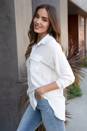 Luxe Button Down Soft Slub Blouse - Bleu Chic Boutique