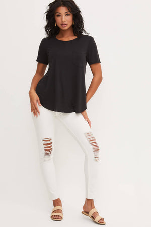T11461D-I Laid Back Scoop Neck Pocket Tee- Black - Bleu Chic Boutique