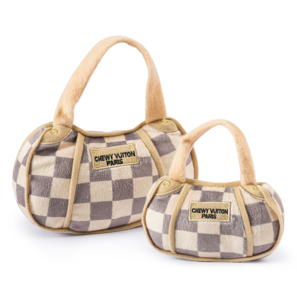 Chewy Vuitton Checker Handbag- Large - Bleu Chic Boutique