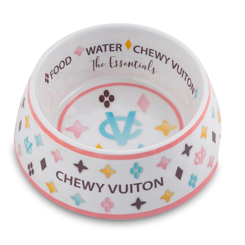 White Chewy Vuiton Dog Bowl - Bleu Chic Boutique