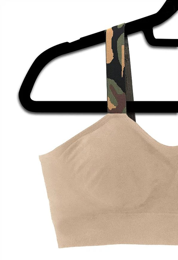 Green Camo Attached to Nude Bra - Bleu Chic Boutique