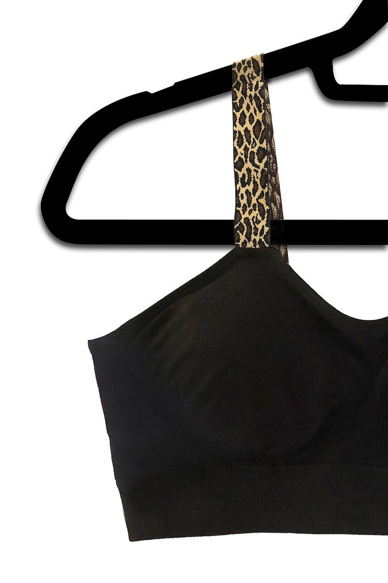 Xtra Chic Leopard Attached to Black Bra - Bleu Chic Boutique