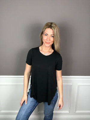 Laid Back Scoop Neck Pocket Tee- Black - Bleu Chic Boutique
