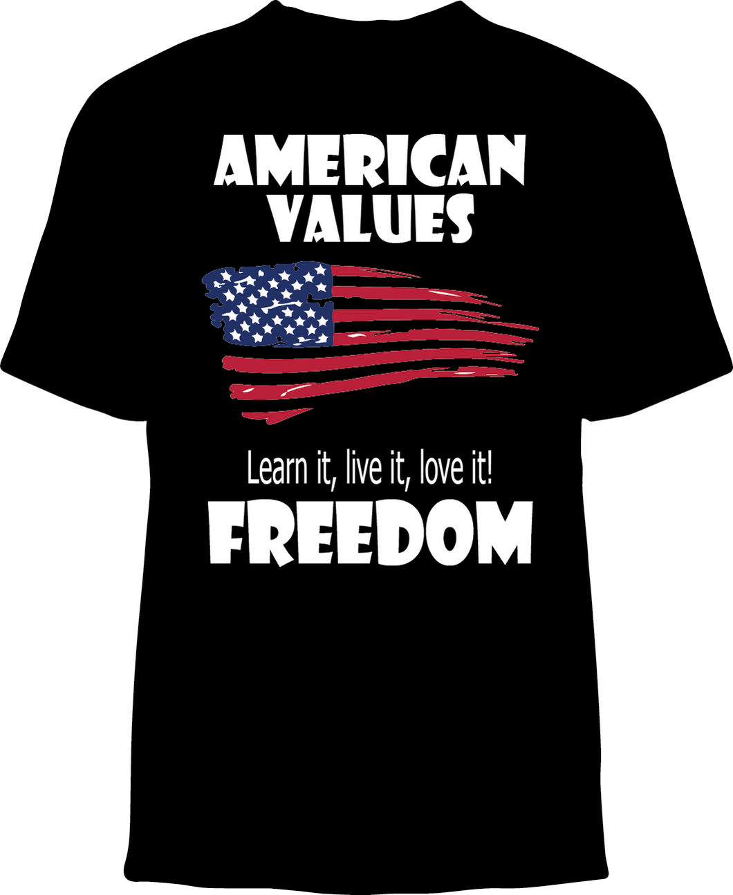 Skelebone Short Sleeve T-shirt, American Values Front