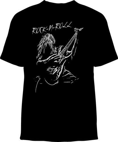 Skelebone Short Sleeve T-shirt, Rock-N-Roll Guitar Player Outline
