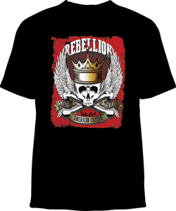 Skelebone Short Sleeve T-shirt, Rebellion Back Print Front Logo