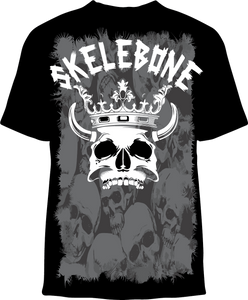 Skelebone Short Sleeve T-shirt, Skull King Front Print