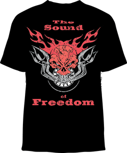 Skelebone Short Sleeve T-shirt, Sound of Freedom Back Print, Logo Front Print