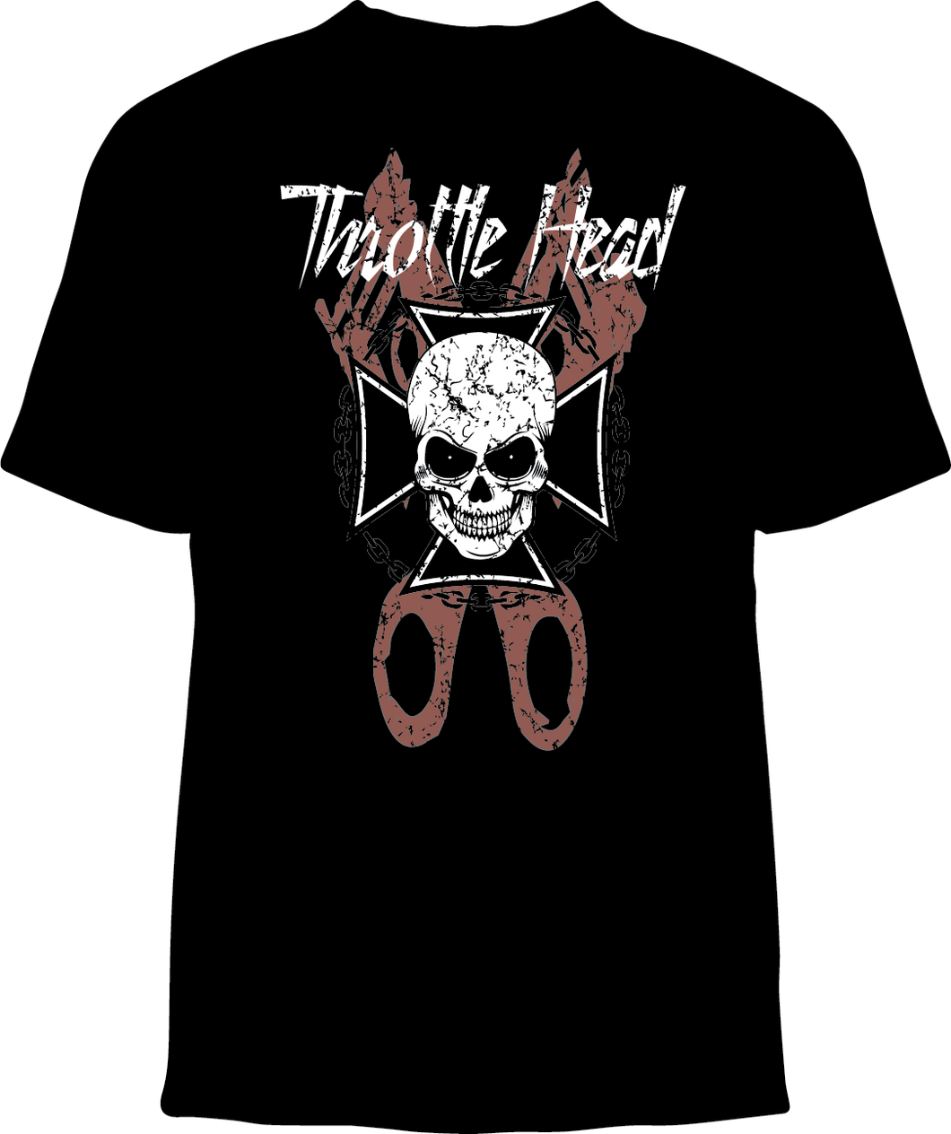 Skelebone Short Sleeve T-shirt, Throttle Head back print, SCC front logo print