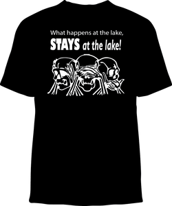 Skelebone Short Sleeve T-shirt, What Happens at the Lake Stays at the Lake Front Print